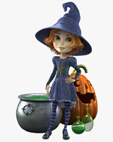 3d model cartoon witch