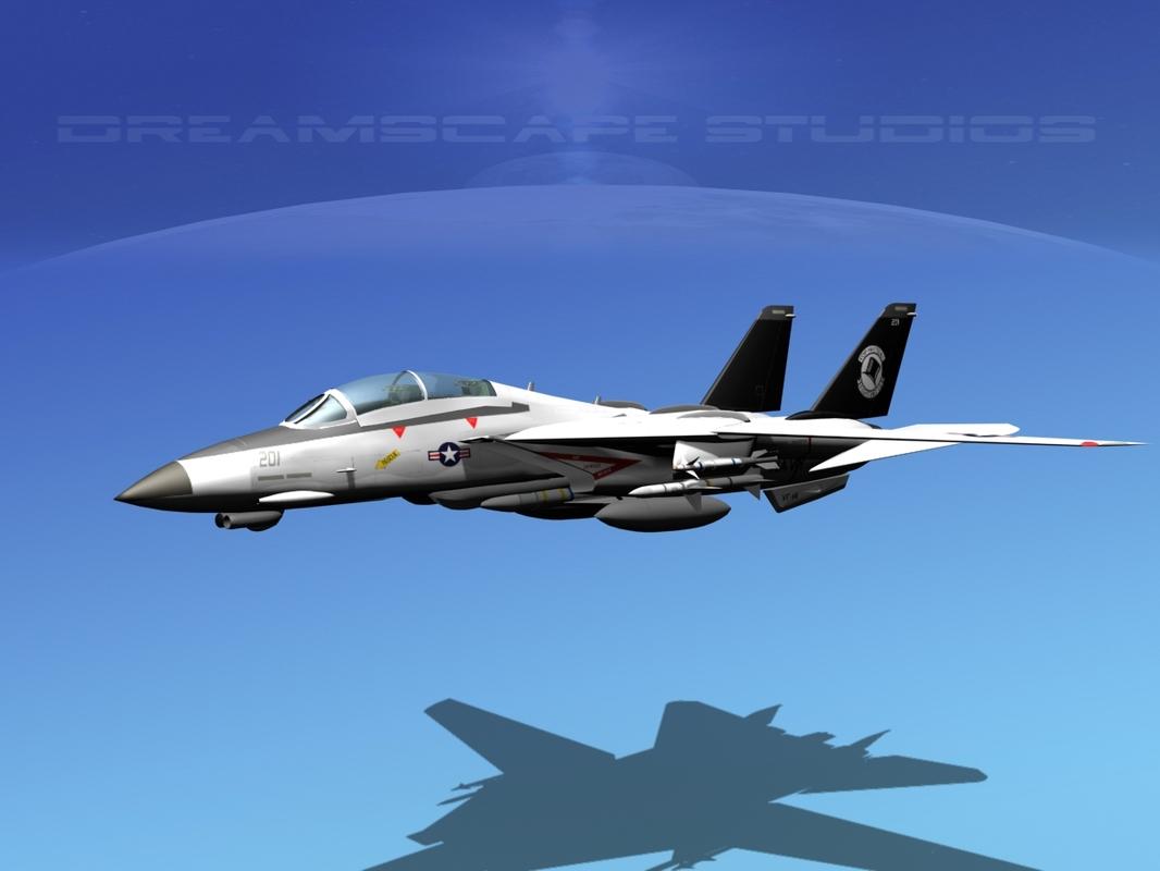 3d grumman tomcat f-14d fighter aircraft