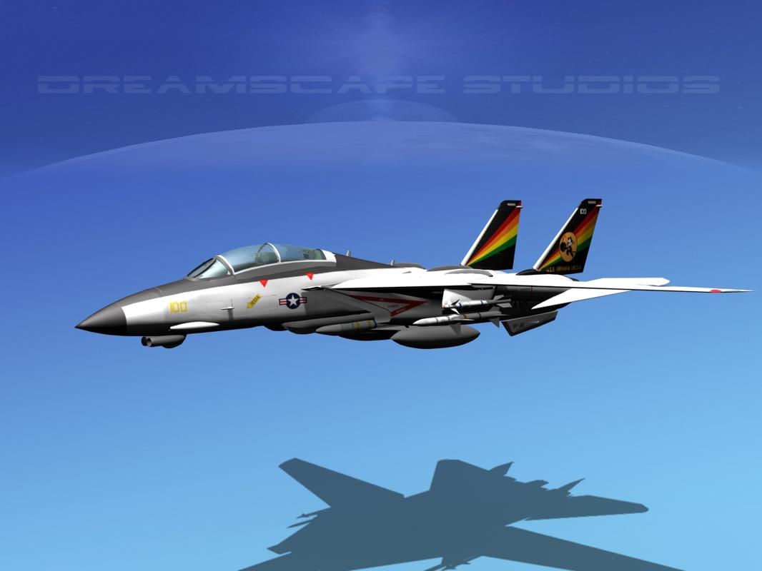grumman tomcat f-14d fighter aircraft 3d model