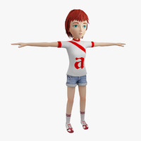 3d rigged cartoon girl