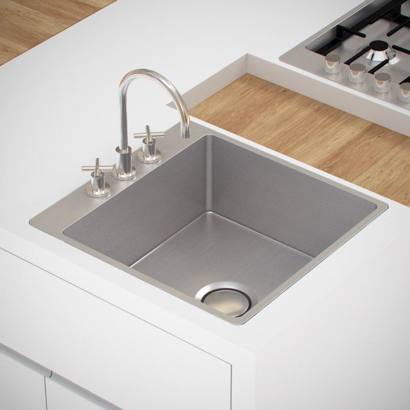 kitchen sink tap 3d obj