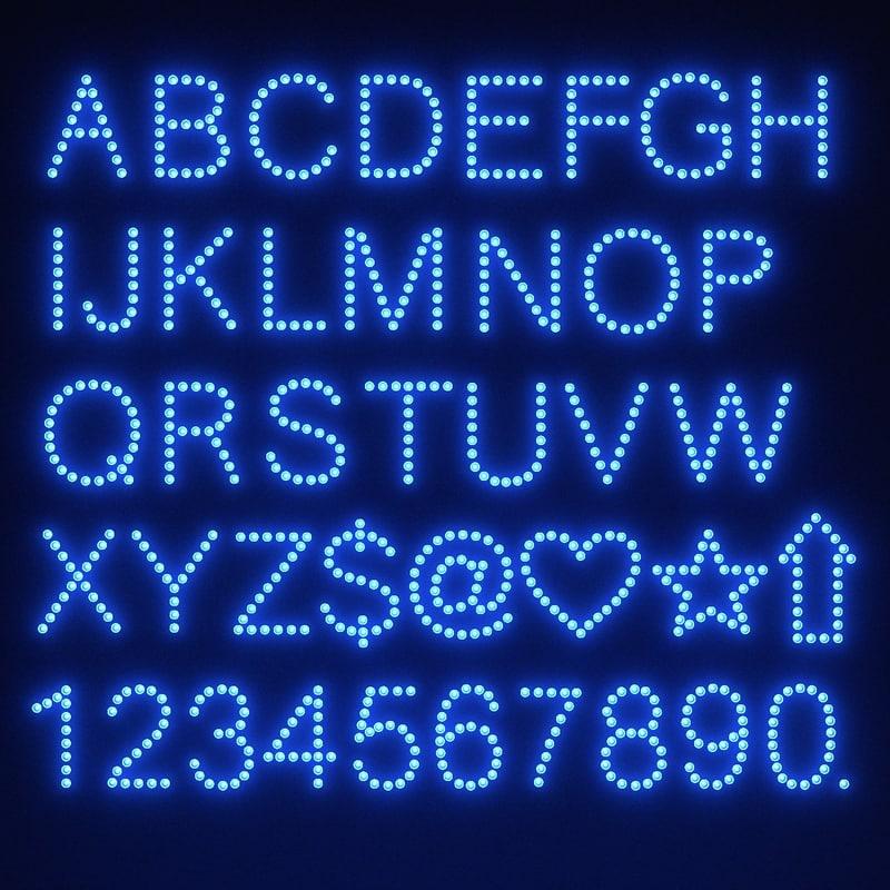 3ds bulb alphabet letters