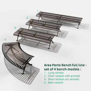 complete porto line benches 3d model