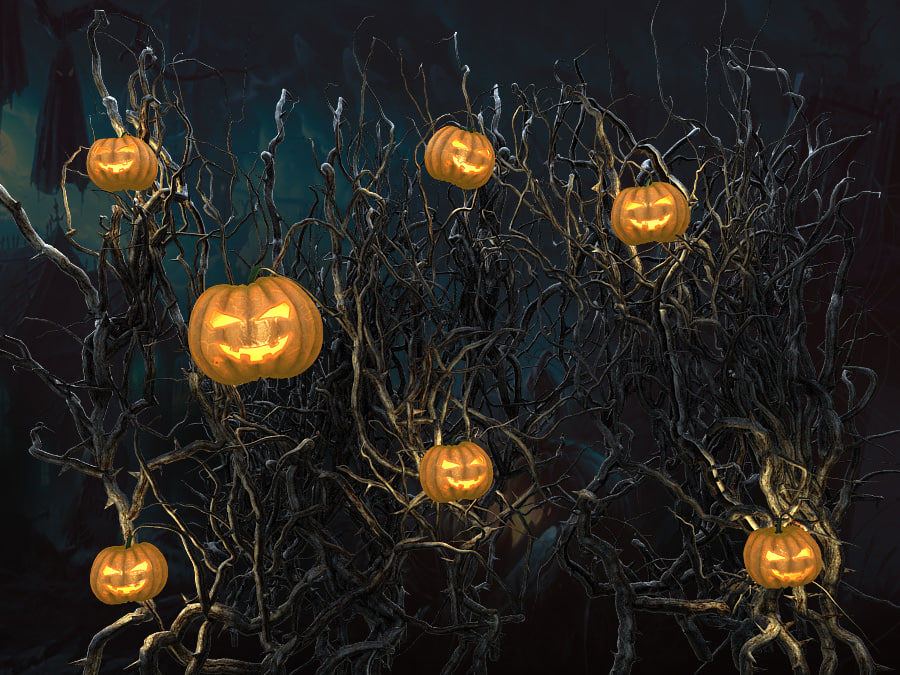 3d model halloween pumpkin wall