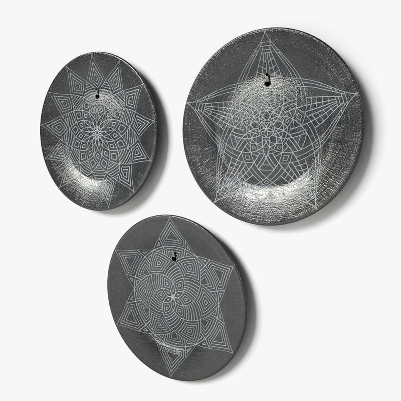 geometric design wall dishes c4d