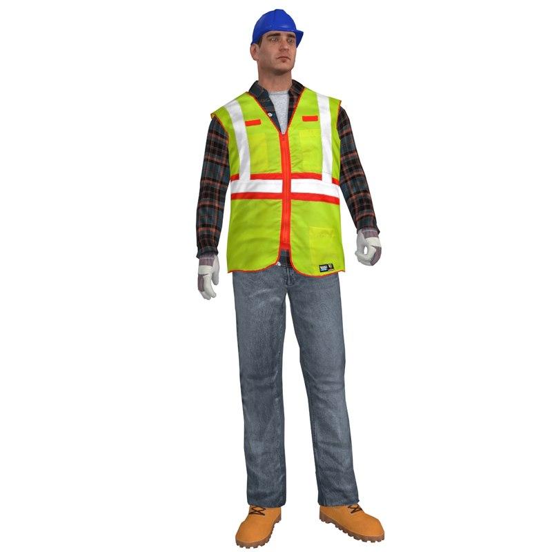 3d fbx rigged worker man