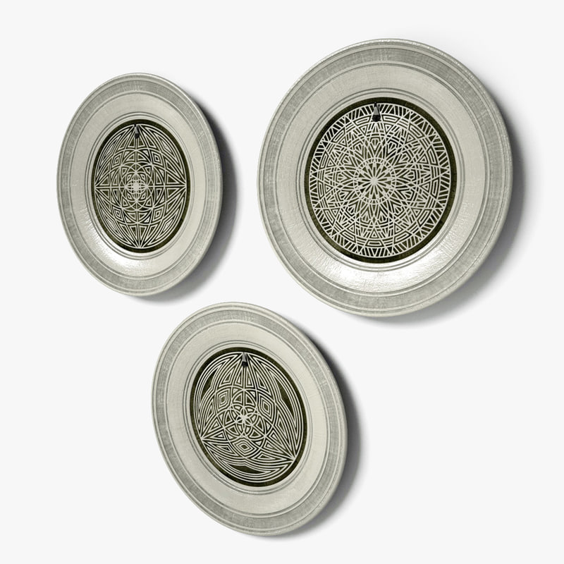 geometric design wall dishes 3d c4d