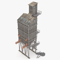 old wooden coal tipple 3d model