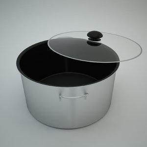 cooking pot glass - 3d model