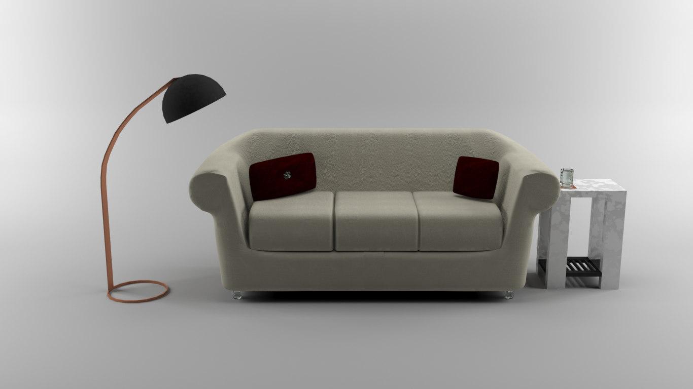 modern couch scene max