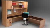 3d model of home office desk