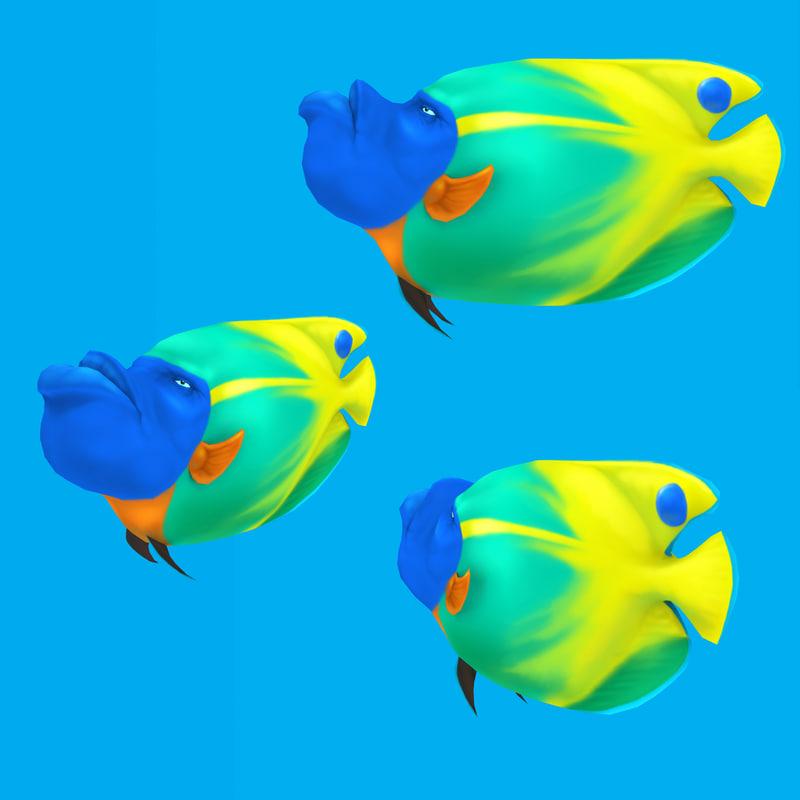 cartoon fish - blueface 3d model