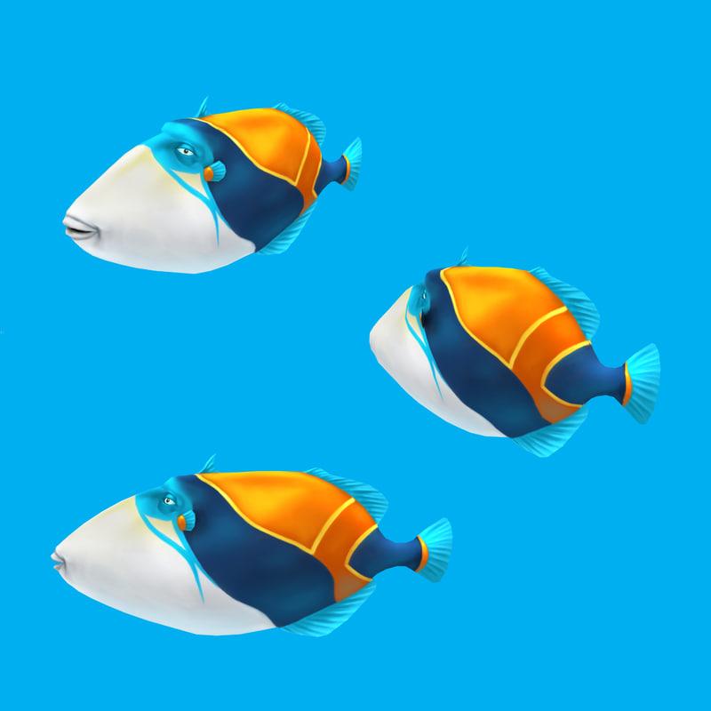 cartoon fish - humuhumunukunukuapua 3d model