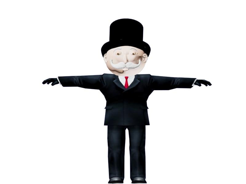 3d model monopoly mr pieces