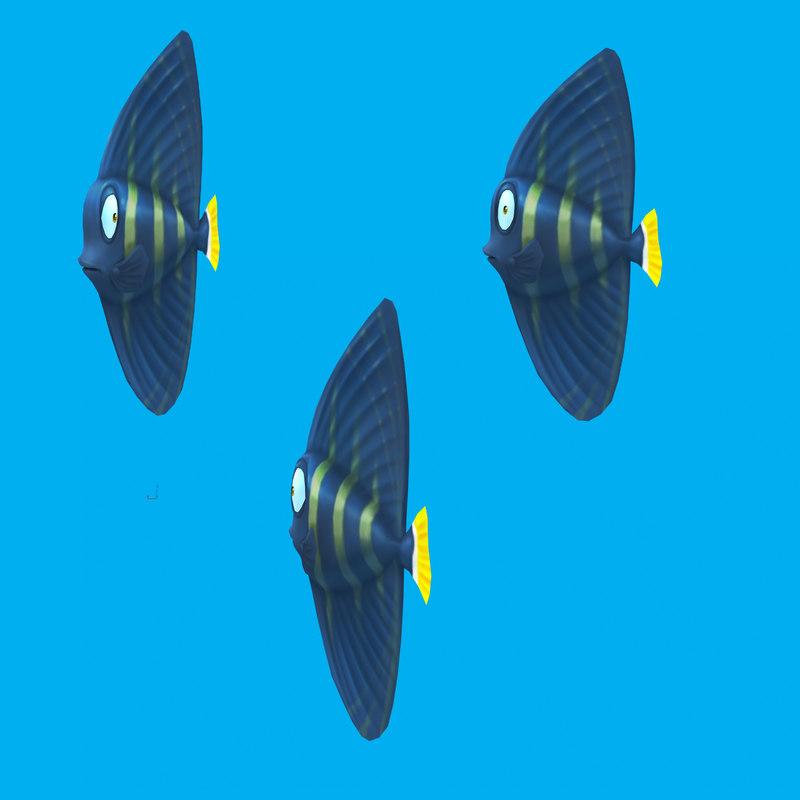 cartoon fish - sailfin 3d model
