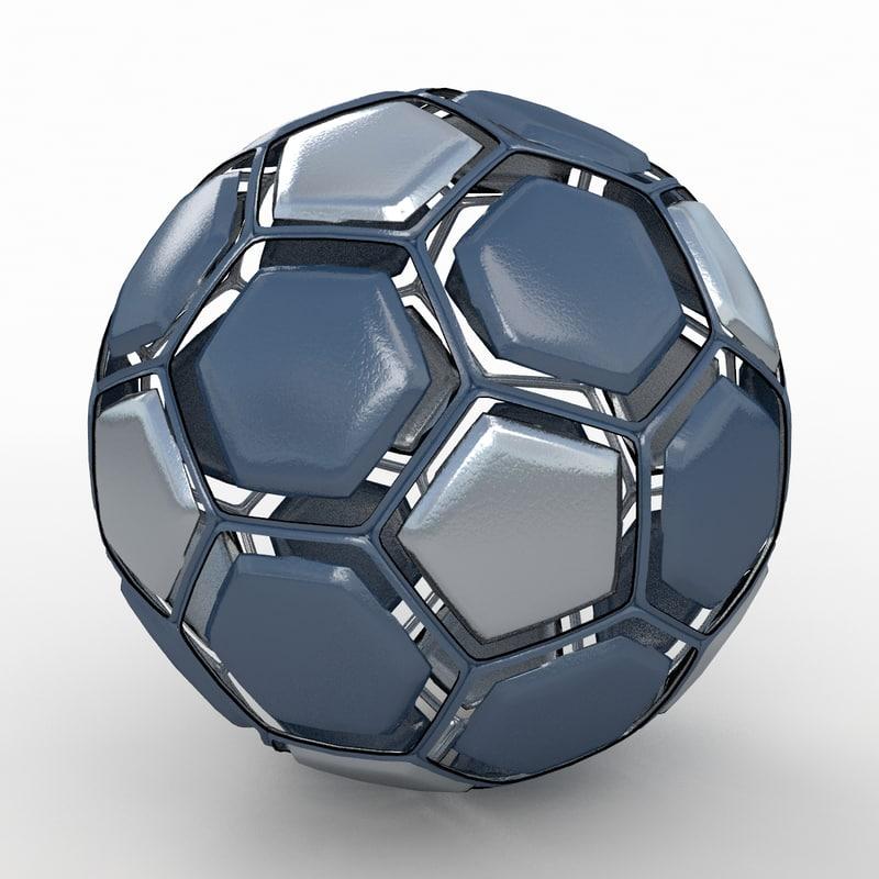 3d model of soccer ball black