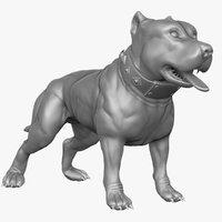 pitbull character 3d obj