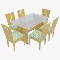 dining table chairs-3 chairs 3d model