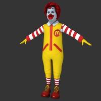 3d ronald macdonald character