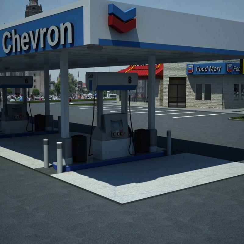 gas station chevron 3d model