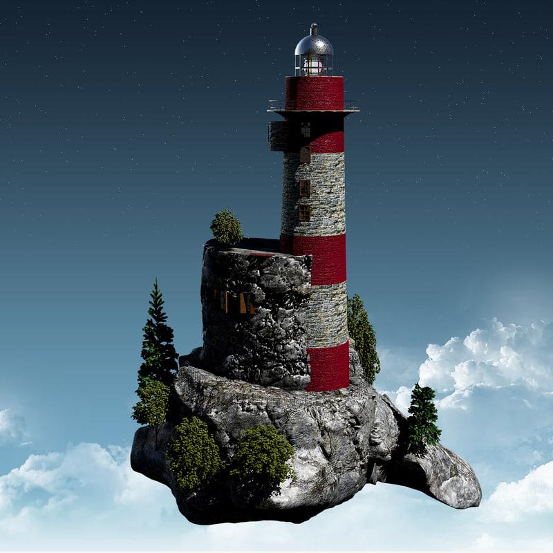 3d model lighthouse island