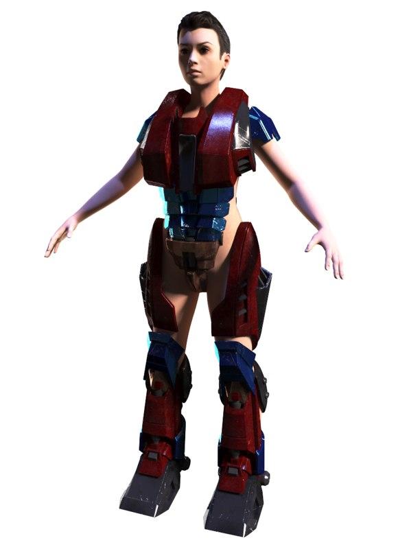 female soldier 3d max