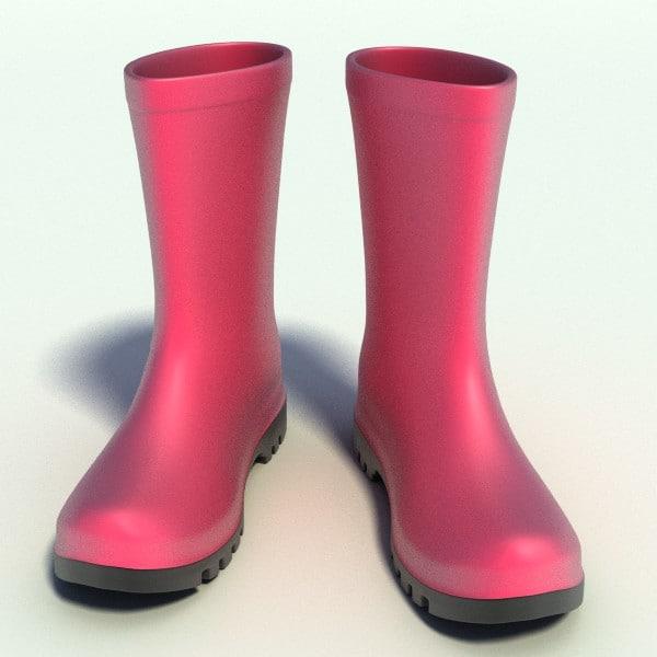 3d pink wellington boots