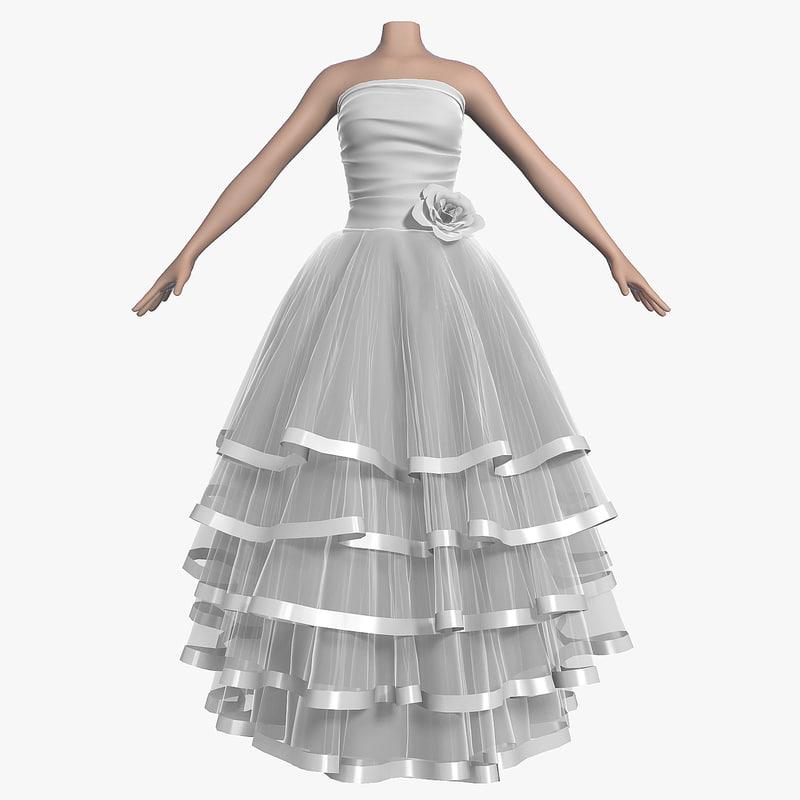 3d model wedding dress 007 female shoes