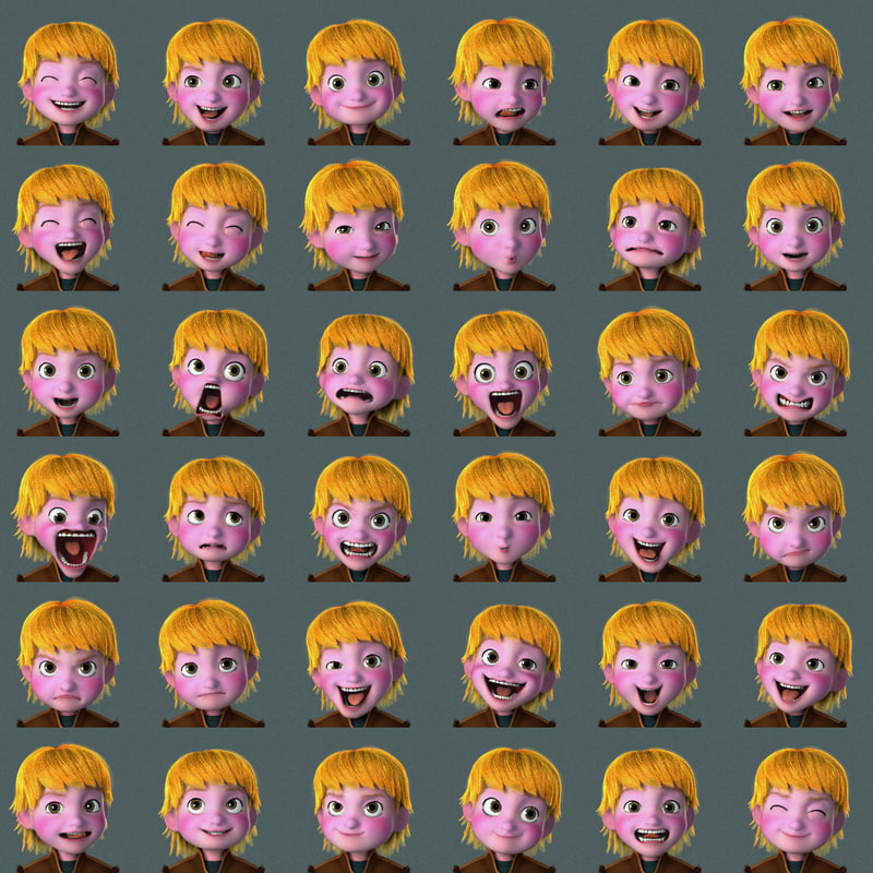 Kris Frozen character face expressions 3d model rigged turbosquid