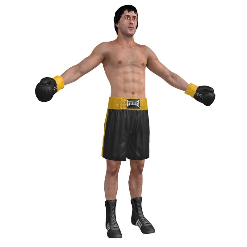 3d model of rocky balboa cloth