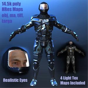 3d model warrior face eye
