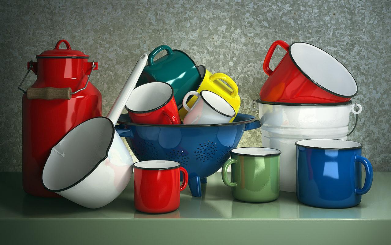 enameled cookware set 3d model