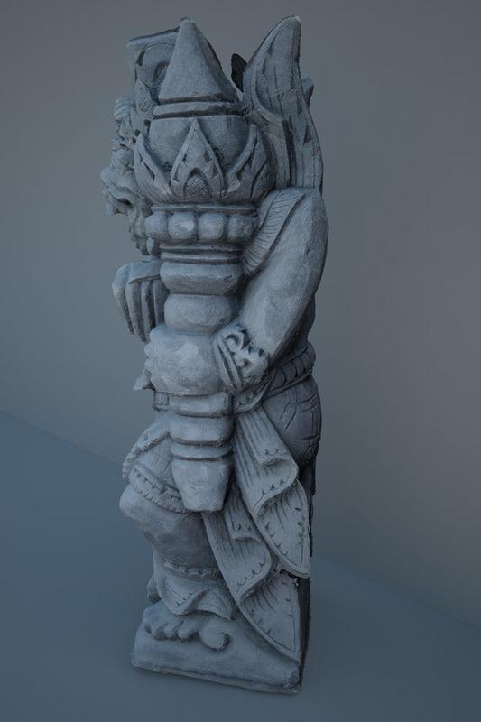 3d statue tanah lot model