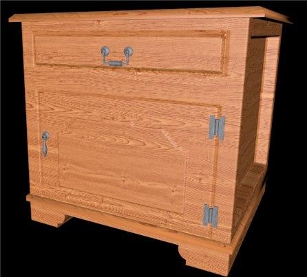 nightstand wooden 3d 3ds