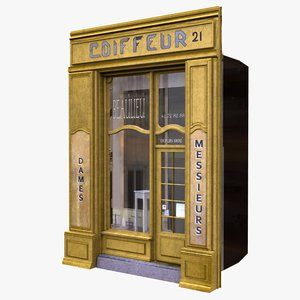 3d model typical paris shop facade