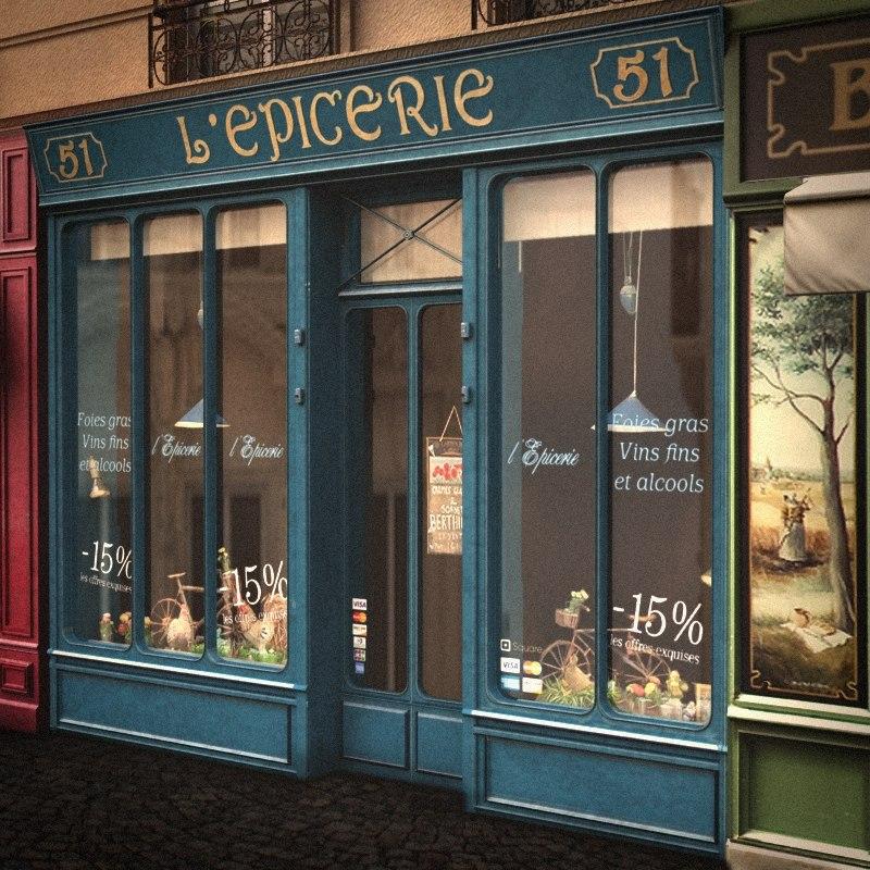 lwo typical paris shop facade