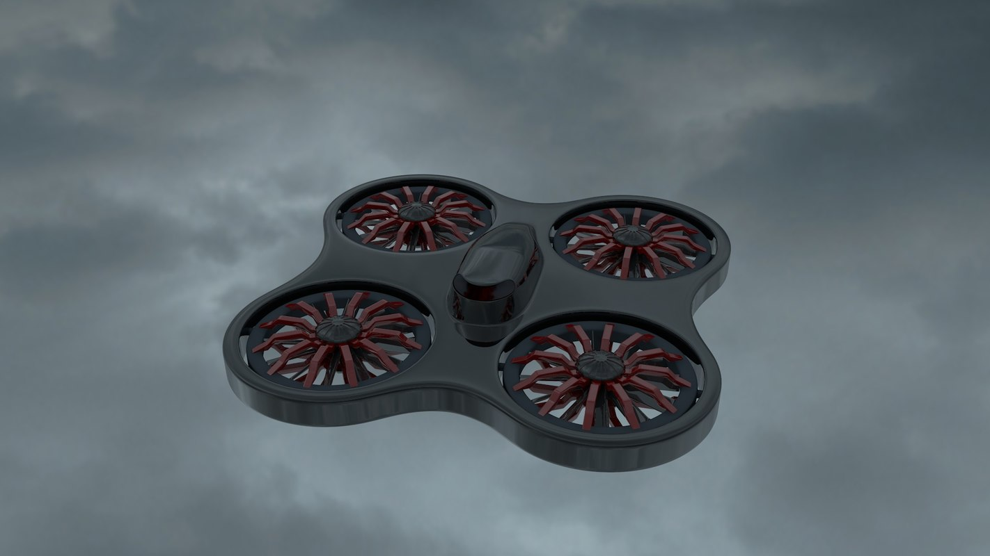 3d drone quadrimoteur model
