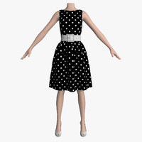 3d 3ds dress white peas female mannequin