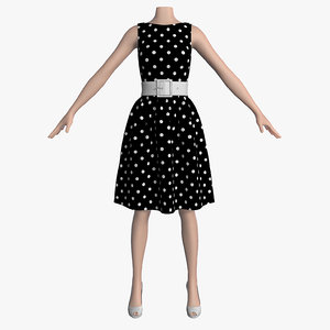3d 3ds dress white peas female mannequin