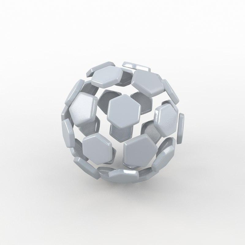 3d soccer ball white model