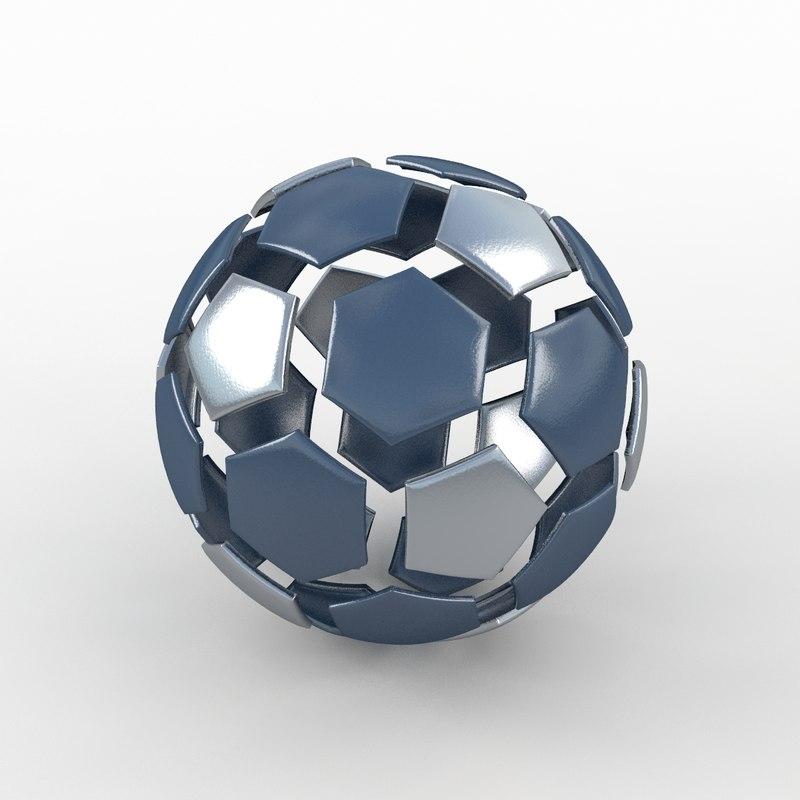 3ds soccer ball black