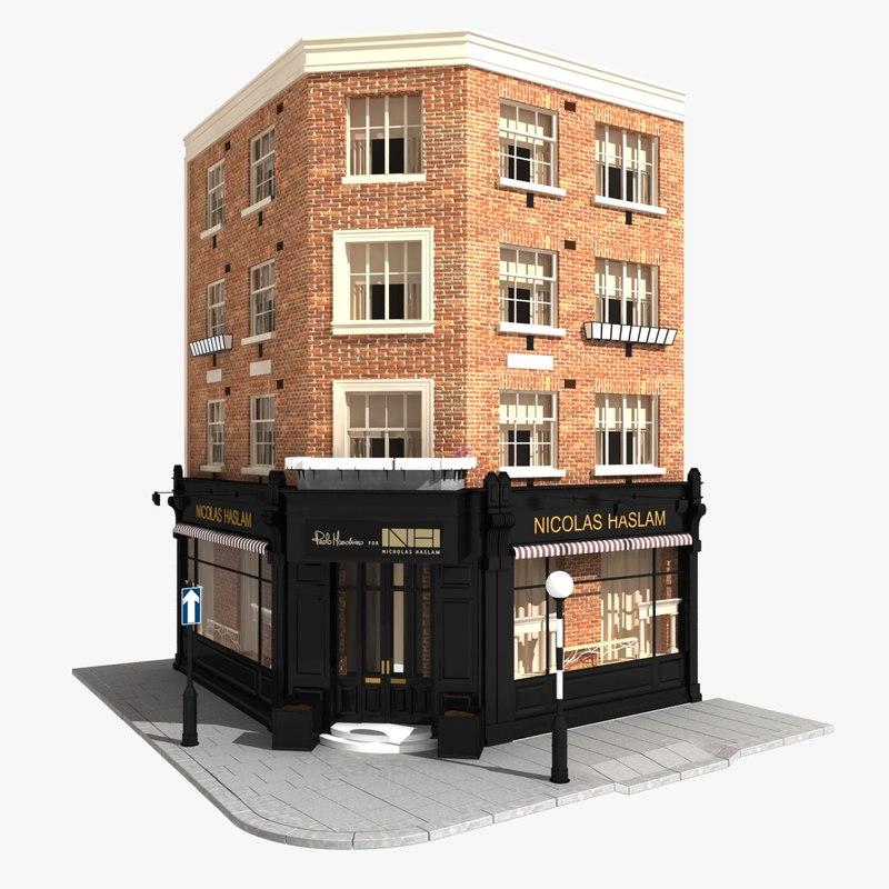 3d corner building london model