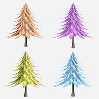 3d cartoon trees model