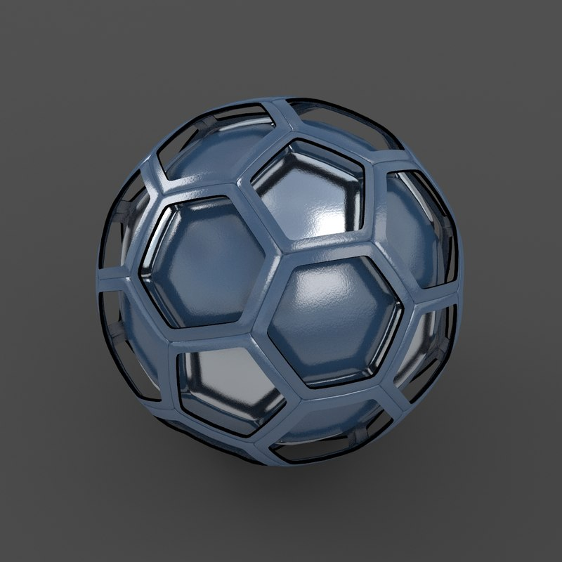3d model soccer ball black