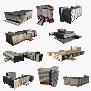 3d model set 10 house