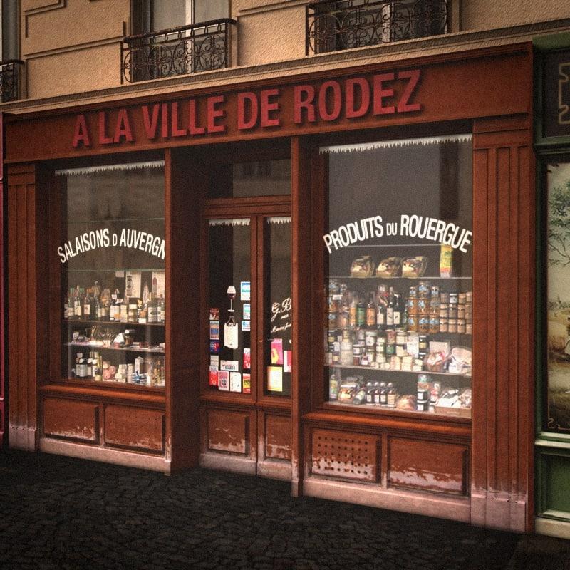 3dsmax typical paris shop facade