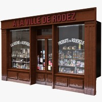 3dsmax typical paris shop facade