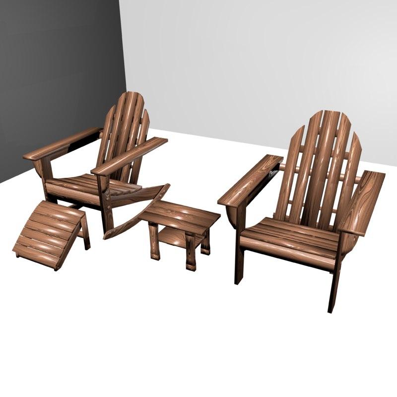 3d model patio set