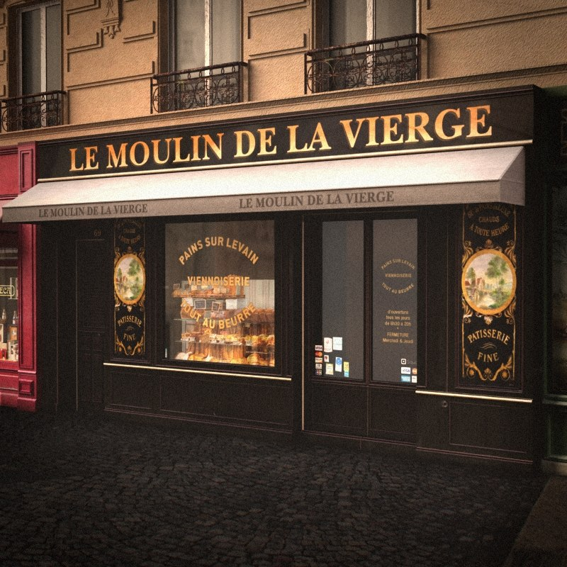 3d lwo typical paris shop facade