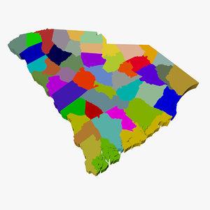 counties south carolina 3d max